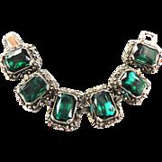 Big Chunky Vintage Designer Emerald Green Bracelet