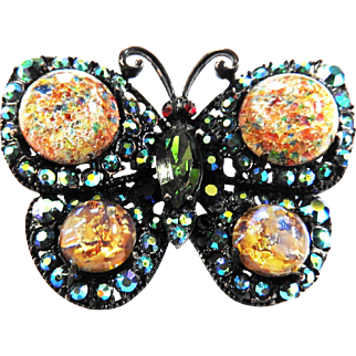 Adorable Art Glass Vintage Butterfly Brooch 50s
