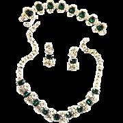 Magnificent Emerald Green Vintage Emerald Rhinestone Designer Parure