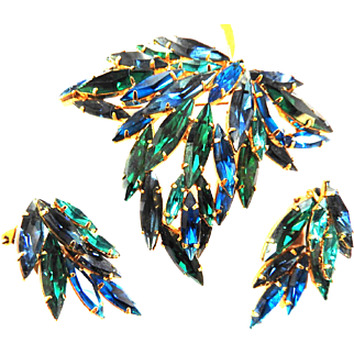 Gorgeous Austrian Rhinestone Brooch and Earrings 1950s Impressive and Chunky