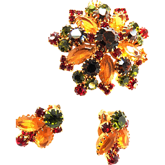 Fall Colors Chunky 1950s Brooch and Earrings