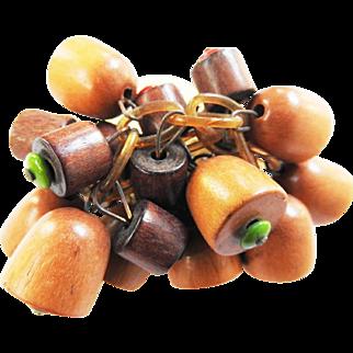 Haskell wood drippy brooch