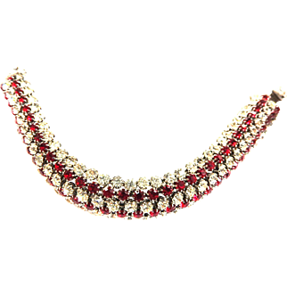 Exquisite Kramer NY ruby Red and Clear rhinestone 1950s Bracelet