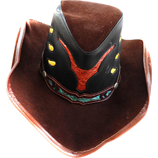 1980,s Suede Leather Snakeskin Cowboy Hat
