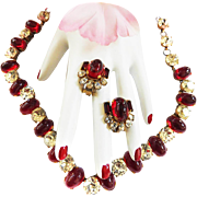 Spectacular Ruby Red Cabochon 1940s Necklace and Earrings