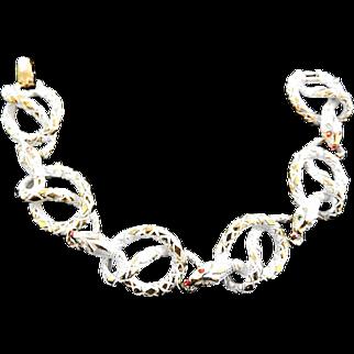 Vintage Art Signed White Washed Cobra Bracelet