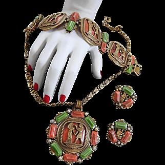 Egyptian Revival Chunky Necklace Bracelet Earrings