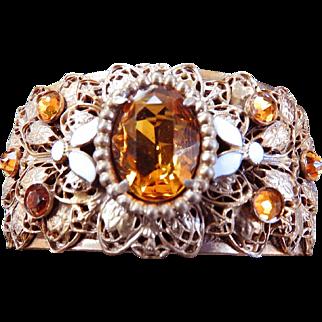Extravagant Topaz Huge Czech Clamper Bracelet Early 1900s
