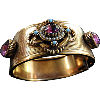 Jaw Dropping Gorgeous Amethyst Faux Pearl Revival Cuff Bracelet