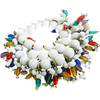 Vintage Wrap Beads and Rods humongous white red and green Designer Bracelet