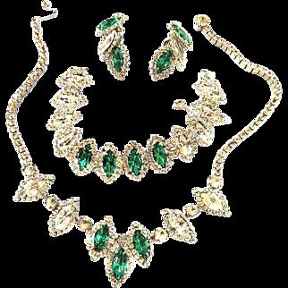 Weiss Emerald Green Necklace Bracelet Earrings Vintage Parure