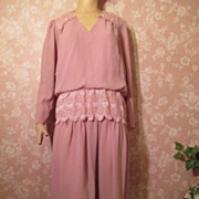 Vintage Dress M L Lace Peplum Cocktail Georgette Chiffon Mauve Ashes of Roses Mother of Bride