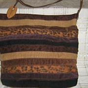 Vintage 80s Caribbean Joe Tote Handbag Purse Velour Cord  Hippie Hipster Boho Leopard