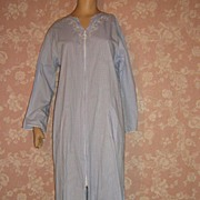Vintage Rare cotton Miss Elaine Lounge Robe or Nightgown Zip Front  S M
