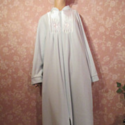 Vintage Plush Robe Zip Front Fleece Lounge Robe Satin Embroidery Shadowline
