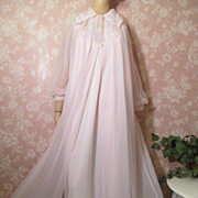 Vintage Nightgown Peignoir Robe Set Sheer Pink Double Chiffon Long large TALL Floaty