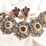 Bold amethyst rhinestone dome sim seed pearl Bracelet Free Earring Gift