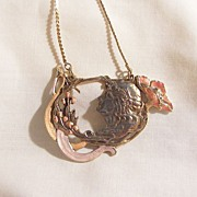 Gorgeous Art Nouveau Style repousse work Beautiful Face Deco color enameling Necklace. One of a kind