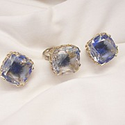 Fantastic Rare Emmons Set Intaglio Blues faceted cut Lucite Ring and Earrings