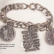 Rare Beautiful signed Whiting Davis Asian theme Charm Bracelet marked Germany on Clasp