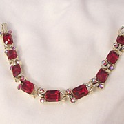 Gorgeous Ruby Red Emerald cut and Aurora Borealis Rhinestone Link Bracelet Well Crafted