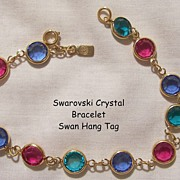Beautiful Swarovski Colorful Crystal Bracelet Swan hang tag