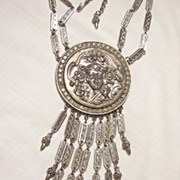 Rare Goldette (r) Ben Carter large Waterfall Bib Art Nouveau style repousse woman's face rhinestones Necklace