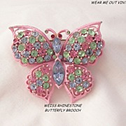 Gorgeous pastel rhinestone fruit salad pink enamel Weiss Butterfly Brooch