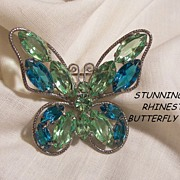 Breath taking Spring colors Jour Peridot Teal blue color Rhinestone Butterfly Brooch