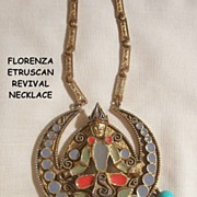 Outstanding Florenza Etruscan revival Necklace elaborate figural enamel dangle bead design Excellent