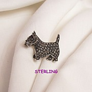 Fabulous small sterling marcasite red rhinestone eye Scottie Dog Brooch