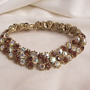 Sparkling stunning Trifari Bracelet 3 row Topaz color and aurora Borealis clears