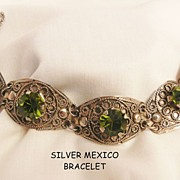 Gorgeous Silver Mexico Olivine color glass Jour stone panel Bracelet