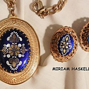 Rare Extraordinary Miriam Haskell Russian gold tone Large Locket Necklace and Earrings