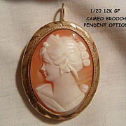 Beautiful cameo woman portrait 1/20 12k GF Brooch with Pendent bale option