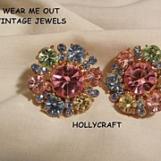 Gorgeous Hollycraft Pastel rhinestone Clip Earrings