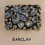 Beautiful Barclay Blue topaz color rhinestone Brooch