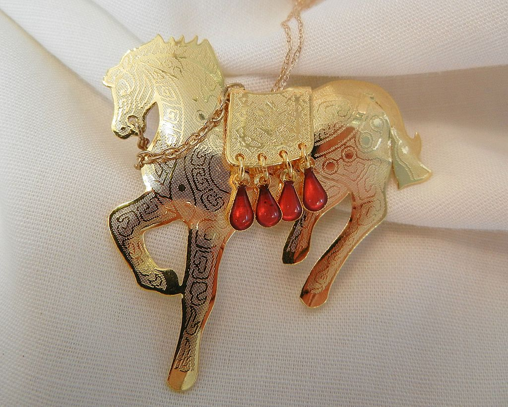 Fantastic Royal Galloping Horse Necklace with dangling red Cabochons and 14K ultra fine Chain