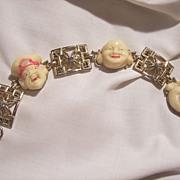 Rare Coro Molded carved Buddha faces rhinestone Bracelet
