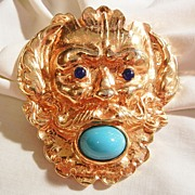 Fantastic huge Foo dog or Lion Simulated turquoise Lapis color Brooch
