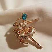 Lovely ballerina Aqua Red and Clear color rhinestone figural Brooch