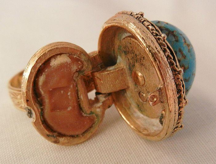 bold beautiful simulated turquoise perfume locket ring