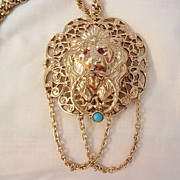 Runway large Red rhinestone eyes Turquoise color bead Door knocker Lion Necklace with Brooch Option
