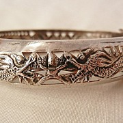 Fantastic Silver Art Nouveau Style Double Dragon Bangle Bracelet