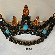 Fantastic Rare Hobe Jet Black Topaz color rhinestone Turquoise cabochon Crown Brooch
