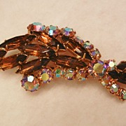 Gorgeous root beer topaz color aurora borealis rhinestone vintage Brooch
