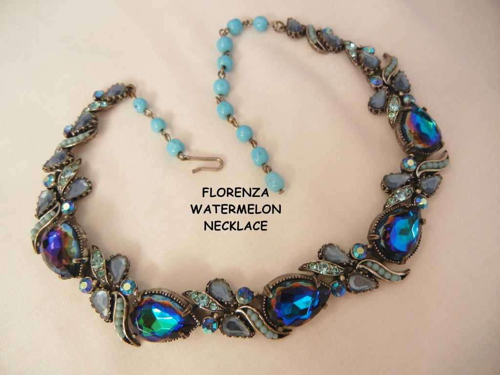 Rare Florenza blue purple watermelon simulated turquoise rhinestone Necklace