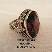 Fabulous Sterling Art Nouveau Amethyst color dragon Ring size 6