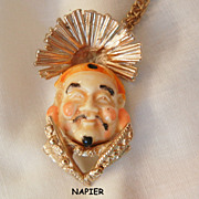 Wonderful Napier elaborate carved smiling emperor Necklace Chain Gold Filled