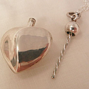 Fantastic art Nouveau style sterling heart perfume bottle Necklace